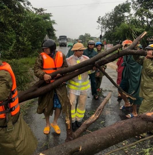 Lực lượng chức năng tỉnh Gia Lai đang tiến hành xử lý cây cối bị ngã đổ dọc đường Quốc lộ 25
