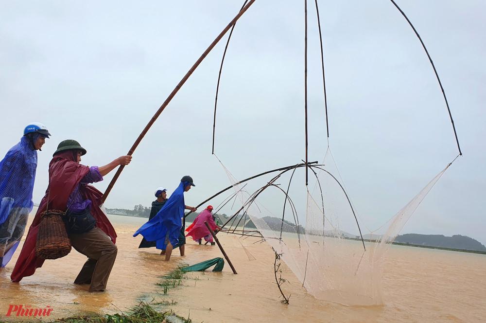 Hàng chục người đứng kín cả đoạn đường cất vó bắt cá