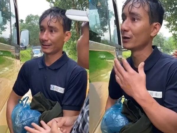 Nguyễn Cao Tùng - người đàn ông hoảng loạn trên đường tìm về Trà Leng để gặp vợ con gây xúc động. Ảnh cắt từ clip