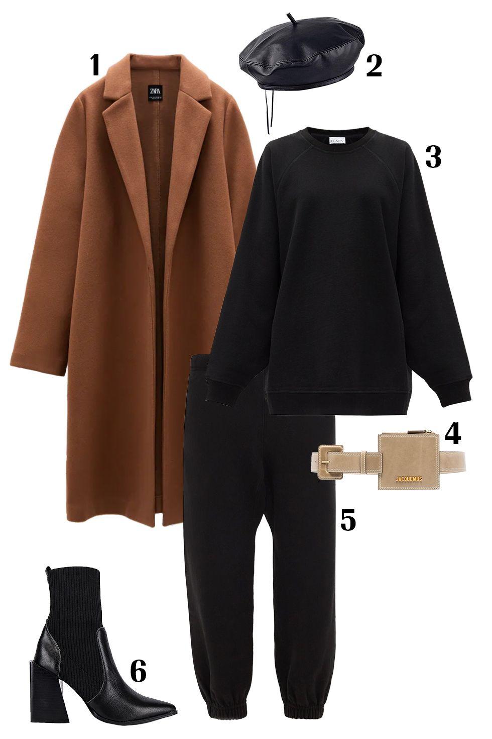 Quần nỉ + trench coat: