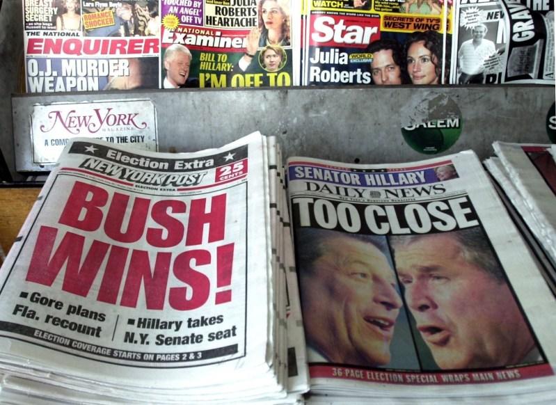Báo chí thời bấy giờ cũng rối bời với kết quả kiểm phiếu của 2 ứng viên cho đến khi có phán quyết của Tòa Tối cao - Ảnh: jornalfloripa