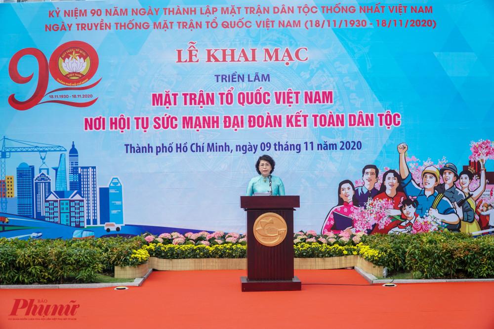 Bà Tô Thị Bích Châu - Chủ tịch Ủy ban MTTQ Việt Nam phát biểu tại buổi Lễ
