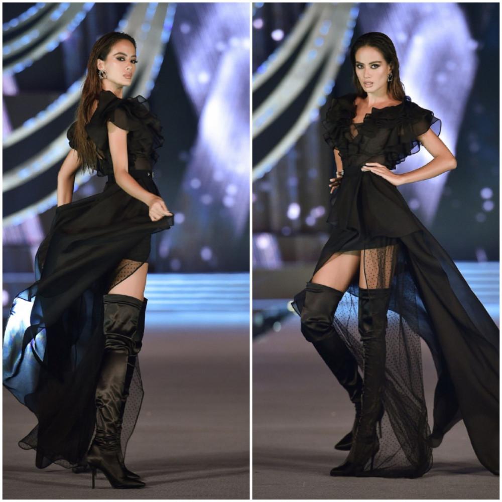 Siêu mẫu Như Vân gây ấn tượng với cách trang điểm khá tây bên cạnh những bước catwalk mạnh mẽ.