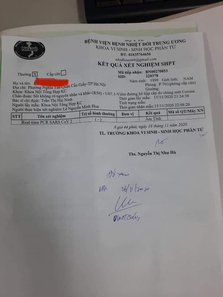 Kết quả xét nghiệm lại của sinh viên 21 tuổi tại Bệnh viện Nhiệt đới Trung ương đã âm tính