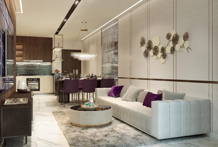 Căn hộ 3 phòng ngủ với thiết kế liên hoàn tạo ra không gian sống khoáng đạt và tràn ngập ánh sáng tự nhiên