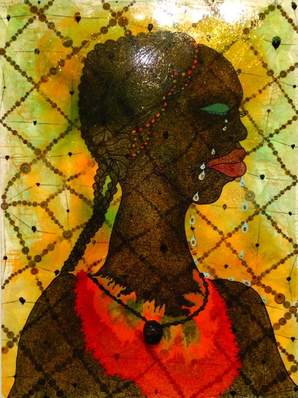 Tác phẩm No Woman No Cry được Ofili dành tặng cho người mẹ mất con vì nạn  kỳ thị sắc tộc