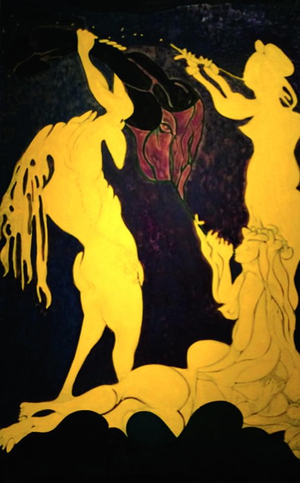 Tác phẩm Ovid-Actaeon, 2011-12 sử dụng sơn dầu và than trên vải lanh, miêu tả khung cảnh thần thoại giữa các vị thần và con người