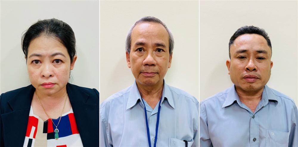 Các bị can từ trái sang phải: Phan Thị Thùy Trang, Nguyễn Như Việt và Nguyễn Đăng Thuần. Ảnh: Bộ Công an.