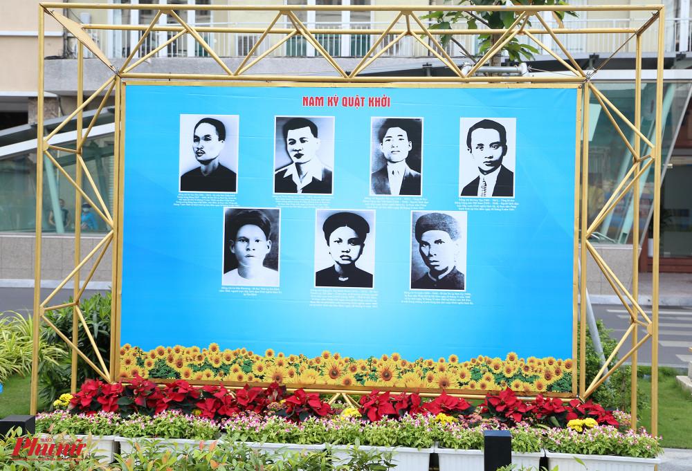 Chân dung những anh hùng yêu nước,có công lớn trong cuộc khởi nghĩa được trưng bày ở vị trí trang trọng