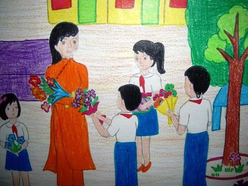 Trẻ nhỏ rất thích tặng hoa tri ân thầy cô - Tranh minh họa