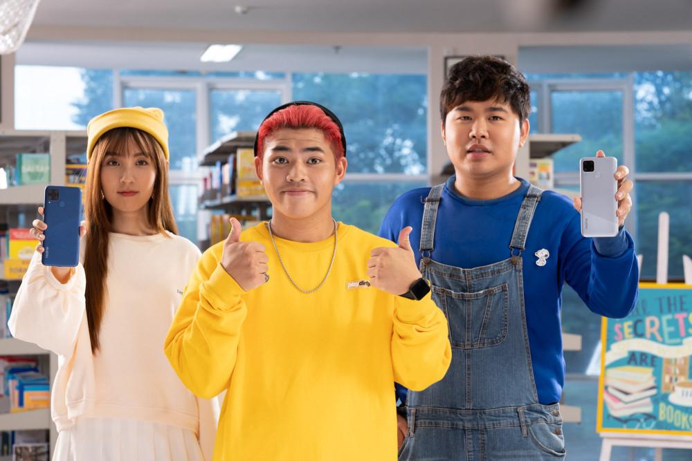 Tez cùng Quốc Khánh và Bùi Khánh Hà trong chiến dịch quảng cáo mới nhất của Realme. Ảnh: Realme