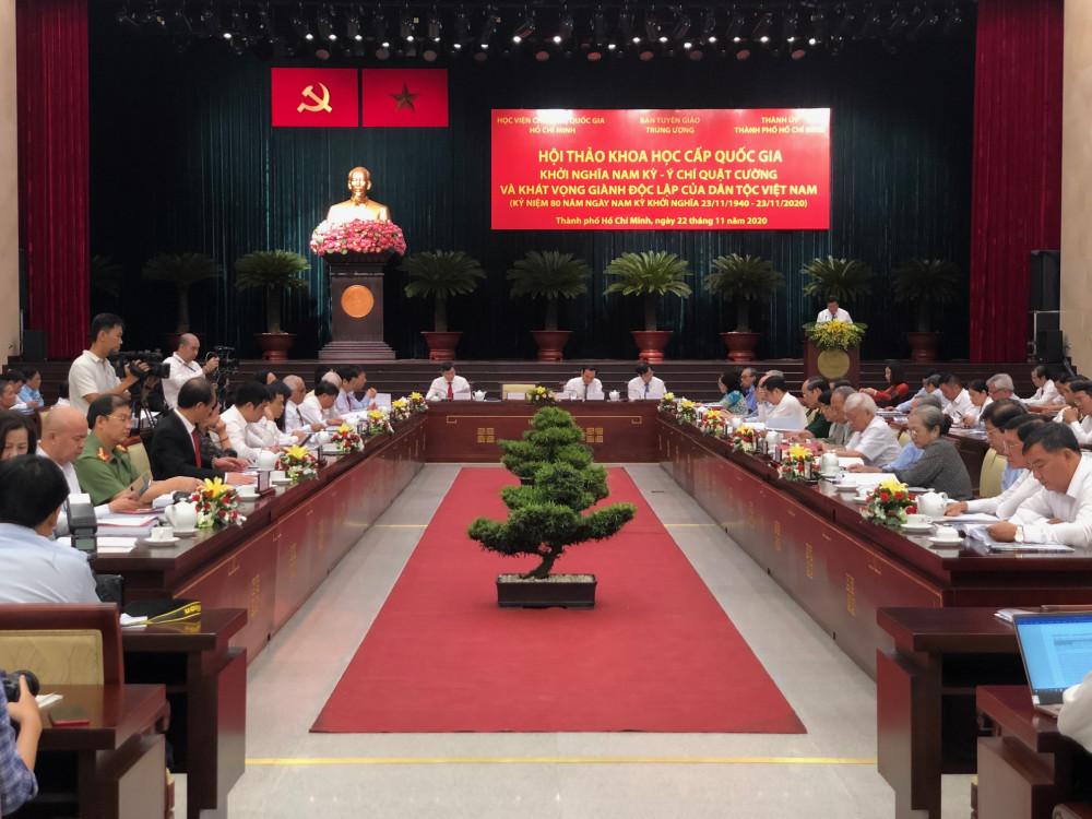 """Hội thảo khoa học """"Khởi nghĩa Nam kỳ - Ý chí quật cường và khát vọng giành độc lập của dân tộc Việt Nam"""" khai mạc sáng 22/11 tại TPHCM. Ảnh: Quốc Ngọc"""
