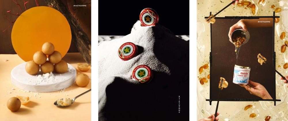 Các tác phẩm trong triển lãm Việt Nam trong tim tôi (lần lượt là Chanh muối, Cao sao vàng, Kẹo mạch nha)