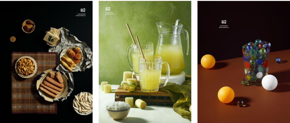 Các tác phẩm trong triển lãm Uả (lần lượt là Bánh hũ, Nước mía, Ly bi)