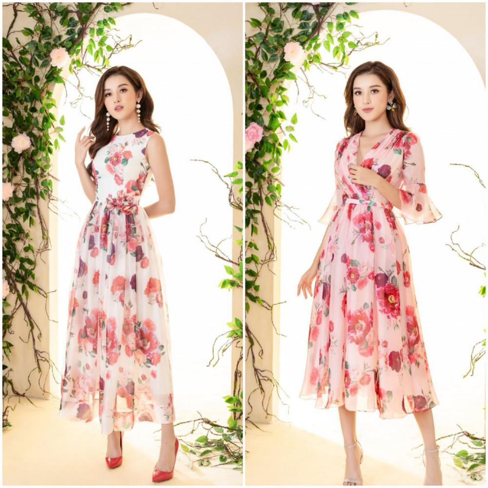 Ngoài ra, Á hậu Huyền My còn gợi ý cho phái đẹp mẫu áo hoa hồng mẫu đơn, tôn lên vẻ đẹp kiêu sa, lộng lẫy của người phụ nữ.