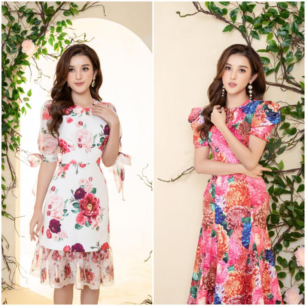 Á hậu Huyền My hóa tiên nữ ngọt ngào trong những mẫu thiết kế lấy cảm hứng từ 2 loài hoa: hồng mẫu đơn và cúc đại hóa trong BST The Most Beauty của NEVA.