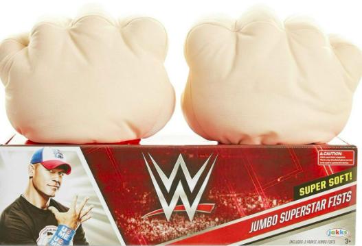 WATCH cho biết WWE Jumbo Superstar Fists nhằm vào trẻ em từ ba tuổi trở lên có tiềm năng gây ra các chấn thương do va chạm mạnh.