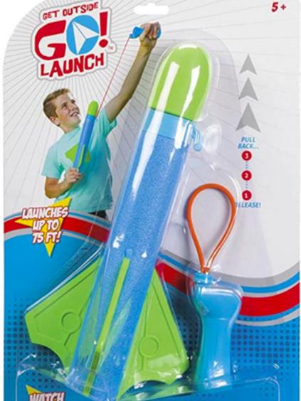 """bệ phóng tên lửa này. (XEM lịch sự)  Trình phóng tên lửa XEM cảnh báo: """"Trẻ em 5 tuổi được khuyên 'ĐI! Khởi động 'tên lửa' này bằng thiết bị phóng giống như súng cao su được cung cấp và 'xem nó bay lên đến 75 ft!' Các cảnh báo và thận trọng không đề cập đến khả năng bị thương ở mắt hoặc mặt. Hơn nữa, hành động bắt đầu phóng xảy ra gần khuôn mặt của một đứa trẻ, như được mô tả trên bao bì."""