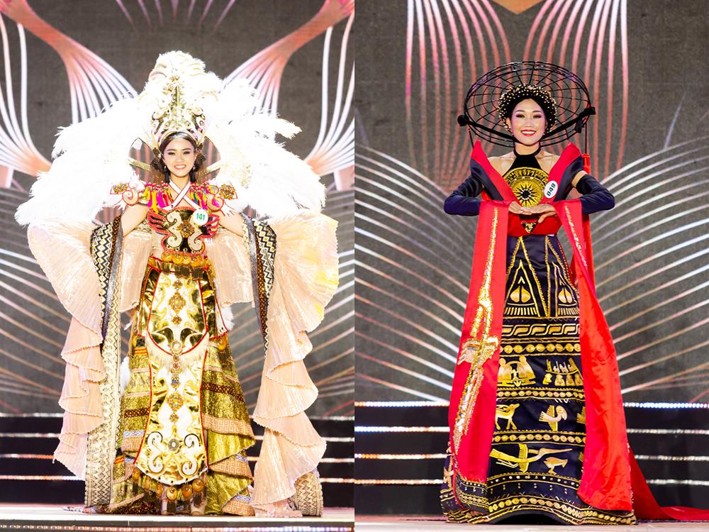 Trang phục của Đào Hoàng Anh (trái) và Bùi Thị Thanh Thuỷ (phải) trông chỉ rườm rà, rối mắt chứ không thể hiện được tính dân tộc
