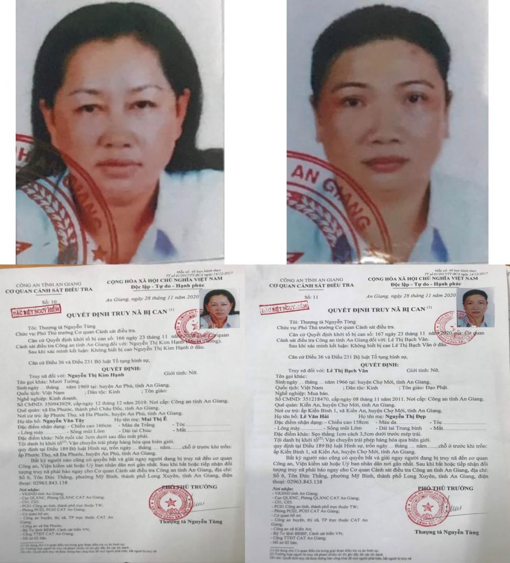 Quyết định truy nã đặc biệt nguy hiểm hai đối tượng Nguyễn Thị Kim Hạnh (trái) và Lê Thị Bạch Vân