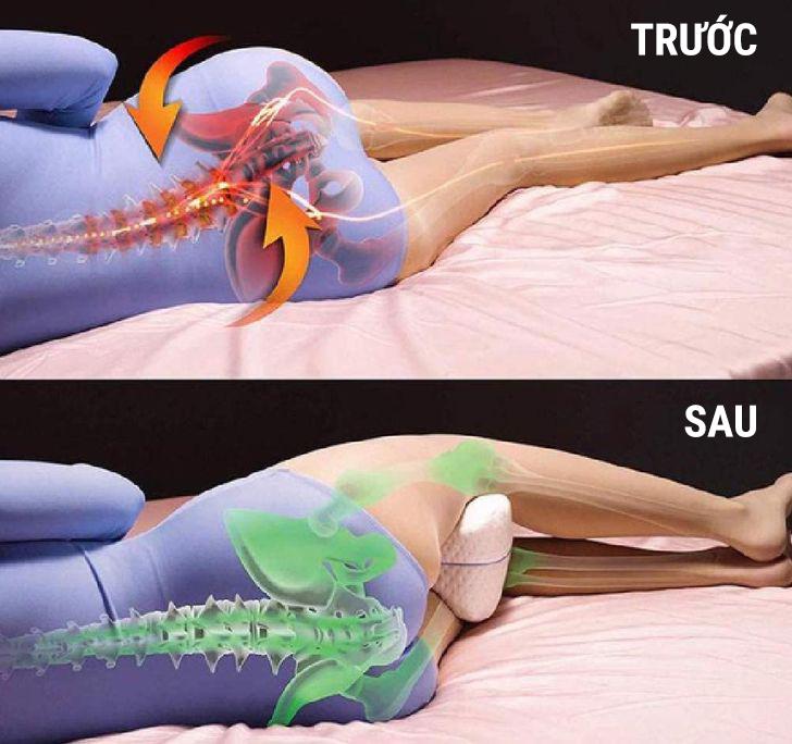 Ngủ không đúng cách gây hại cho cơ thể nhiều hơn chúng ta nhận ra và có thể gây đau lưng, hông và khớp. Ngủ với một chiếc gối giữa hai chân giúp giảm áp lực lên lưng dưới và cột sống. Nếu bạn nằm ngửa khi ngủ, việc kê một chiếc gối nhỏ bên dưới cột sống cũng có thể giúp bạn giữ cơ thể thẳng hàng ở tư thế tốt. Nếu một chiếc gối bình thường là không đủ, thì những chiếc gối đặc biệt được thiết kế sẵn có thể giúp bạn ngủ ngon hơn.