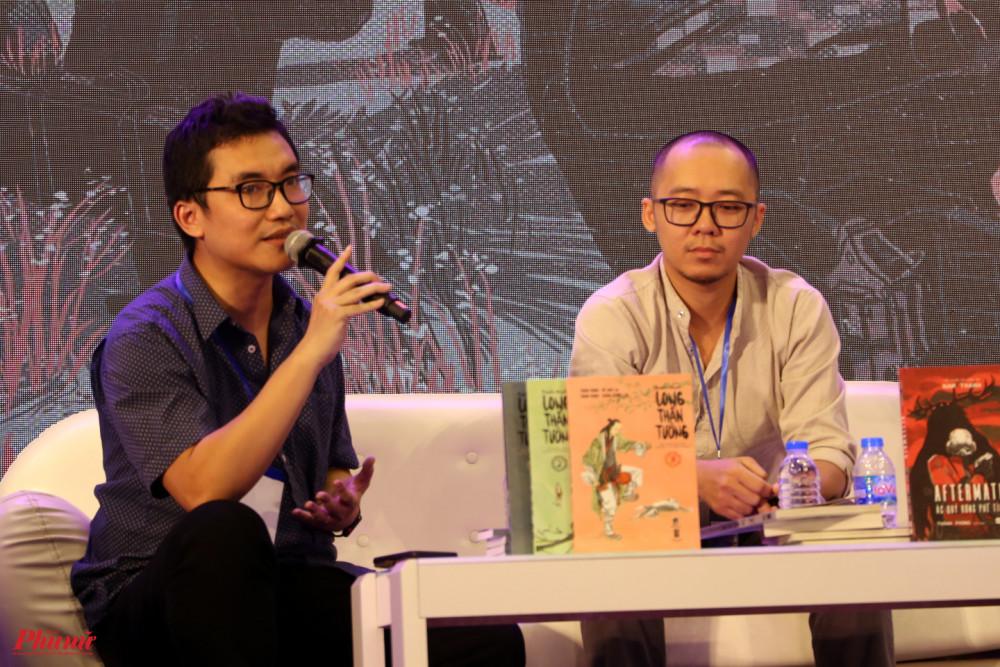 Tác giả Khánh Dương (trái) và hoạ sĩ Thành Phong đã thực hiện Long thần tướng.