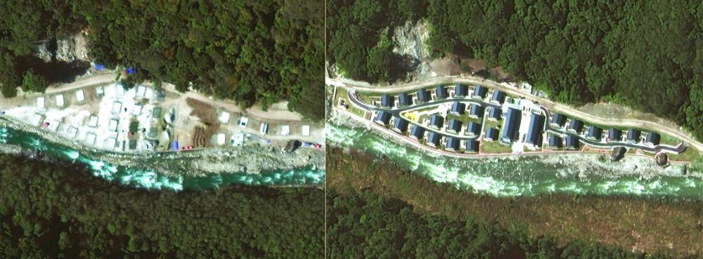 """Ảnh chụp vệ tinh vào tháng 12/2019 và tháng 10/2020 cho thấy sự hình thành của """"ngôi làng Trung Quốc"""" giữa khu vực Bhutan tuyên bố chủ quyền"""