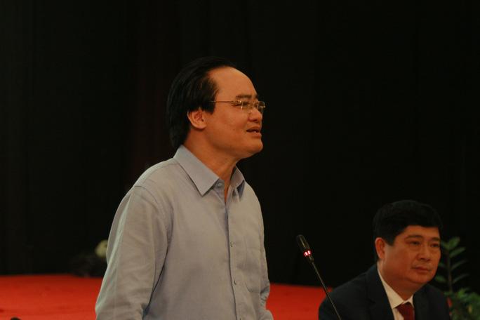 Bộ trưởng Bộ GD-ĐT Phùng Xuân Nhạ phát biểu tại hội thảo     Ảnh Người lao động