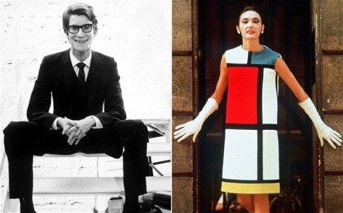 Yves Saint Laurent cùng mẫu váy Mondrian trứ danh.