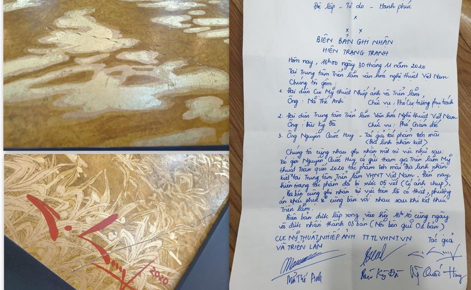 Một trong hai vết xước và biên bản ghi nhận hiện trạng tác phẩm của họa sĩ Nguyễn Quốc Huy - Ảnh: Nhân vật cung cấp