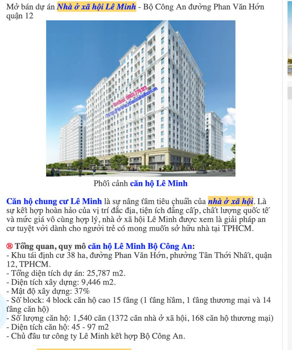 Dự án nhà ở xã hội Lê Minh - Bộ Công an được giới thiệu trên mạng intrernet