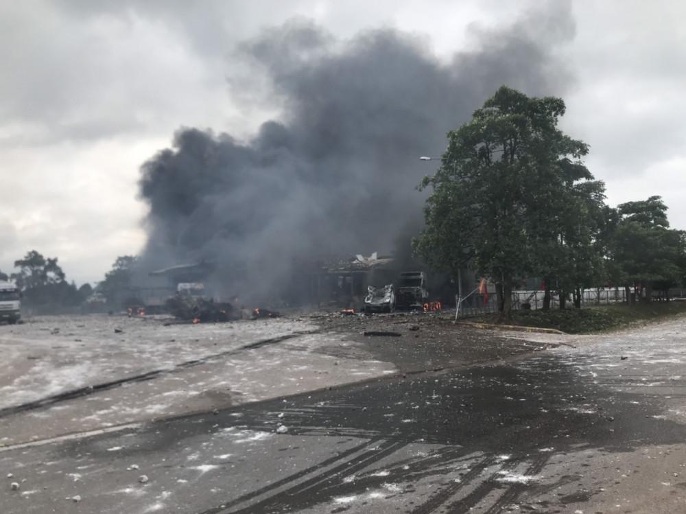 Địa  điểm xảy ra vụ cháy cách cửa khẩu Lao Bảo 500m