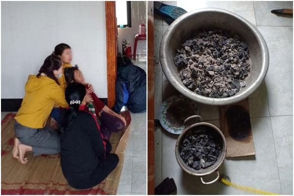 Các chậu than được tìm thấy dưới giường ngủ của gia đình chị L. ở Quảng Bình