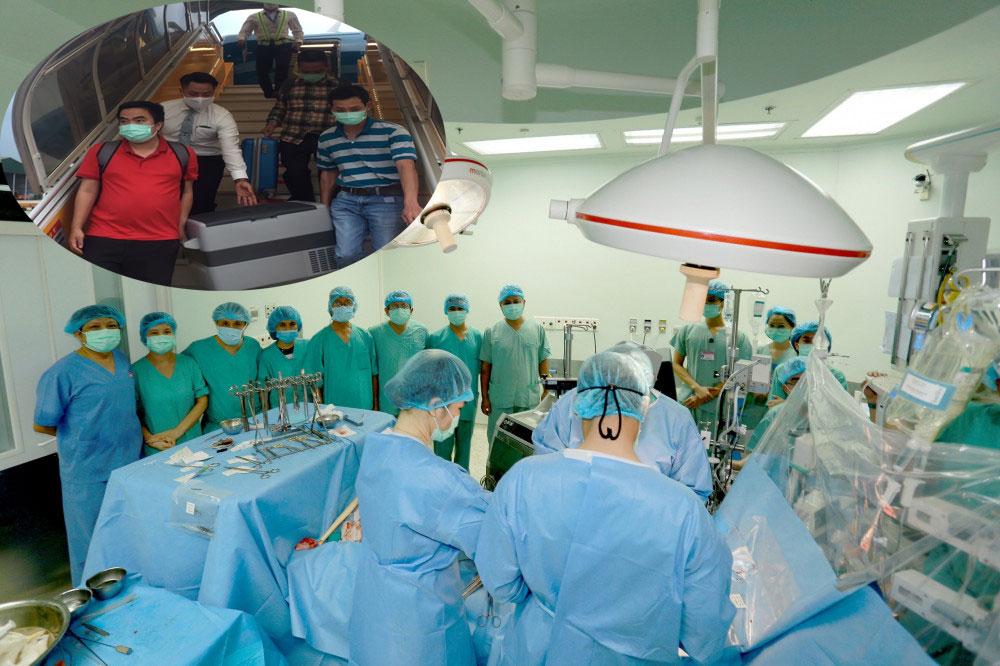Êkip vận chuyển trái tim từ sân bay Phú Bài về thẳng Bệnh viện Trung ương Huế để tiến hành ghép cho bệnh nhân