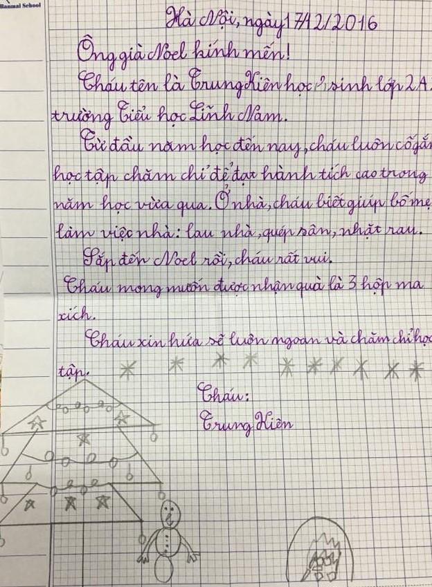 Một bức thư ngộ nghĩnh của trẻ em Việt Nam năm 2015- Ảnh Internet