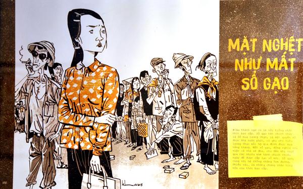 Biếm hoạ về việc mất sổ gạo trong triển lãm Thương nhớ thời bao cấp năm 2018 tại Hà Nội