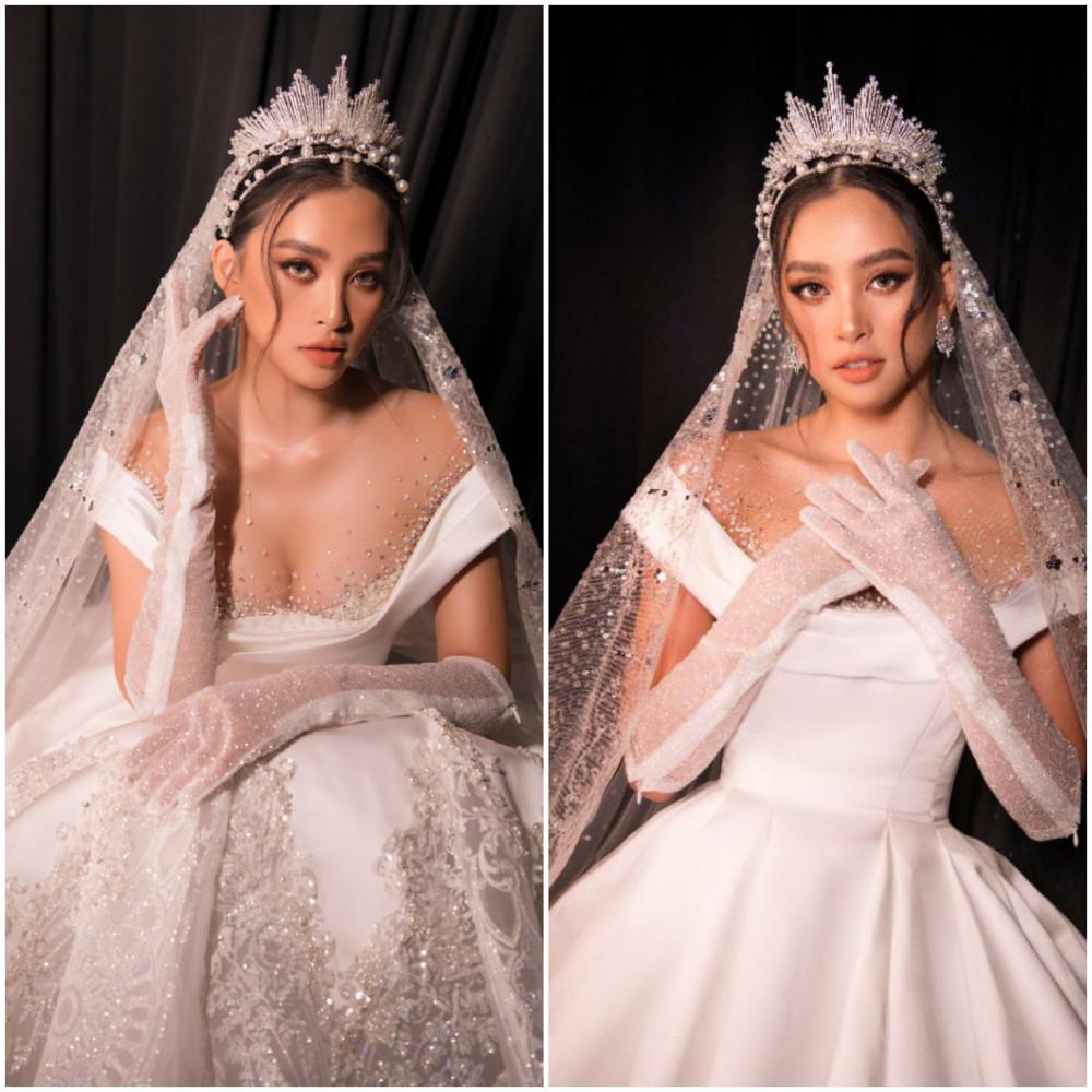 Kỹ thuật tận dụng những nếp khối và cấu trúc 3D kết hợp cùng các mảng đính kết tinh xảo của trang phục giúp nàng hậu khoe trọn sắc vóc quyến rũ.