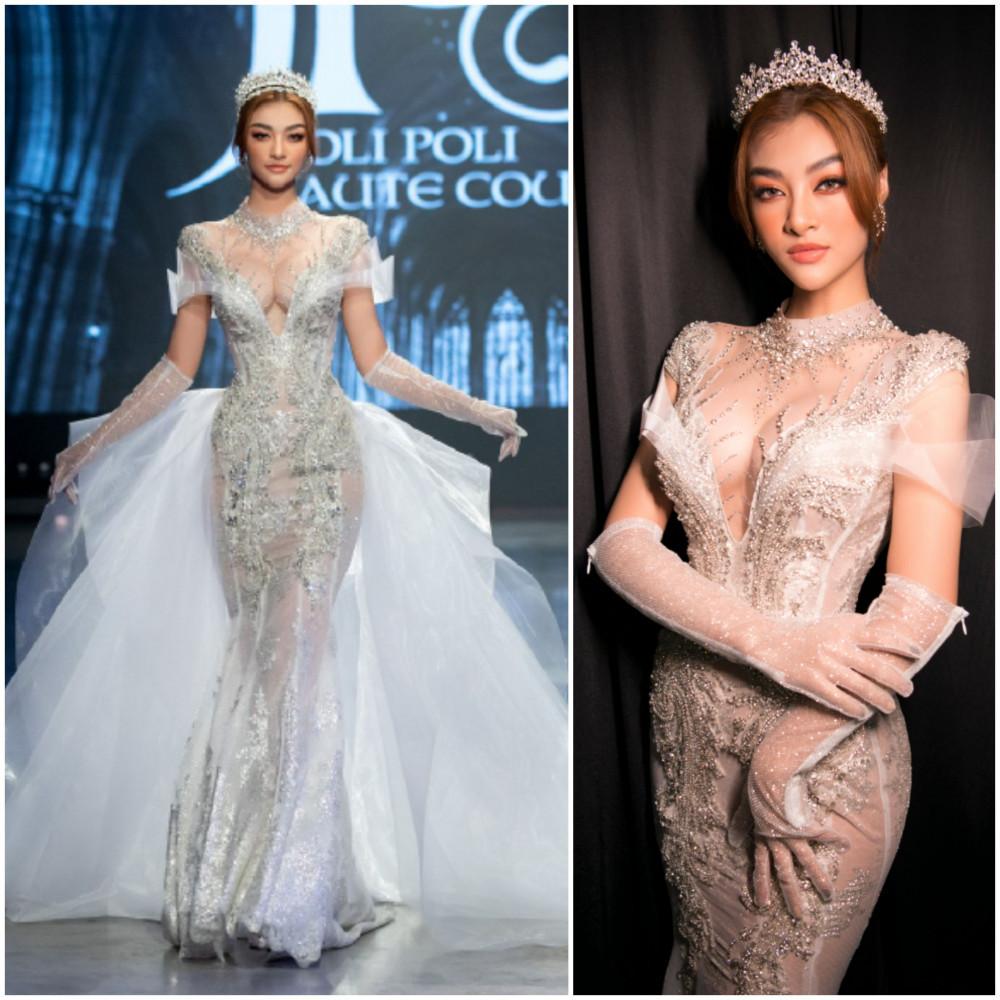 Không thua kém Tiểu Vy, Á hậu 1 Hoa hậu Thế giới Việt Nam 2019 Kiều Loan lộng lẫy sải bước catwalk chuyên nghiệp trong mẫy váy cưới ôm body.