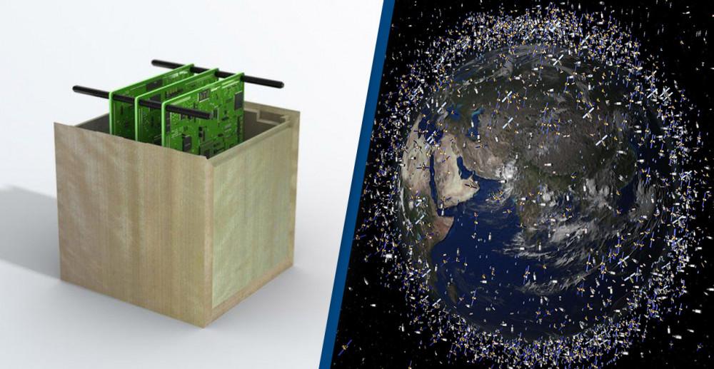 Mô hình vệ tinh làm bằng gỗ do Nhật Bản thiết kế và sản xuất nhằm góp phần giải quyết nạn rác thải không gian - Ảnh: Shutterstock