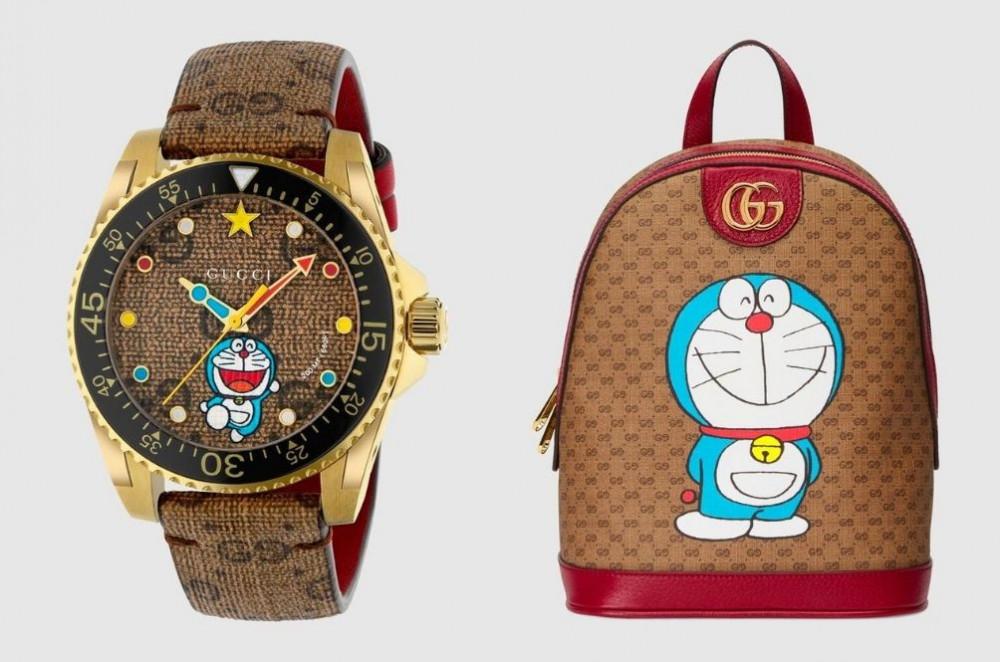 Balo, đồng hồ đắt tiền của Gucci kết hợp với hình ảnh chú mèo máy Doraemon.