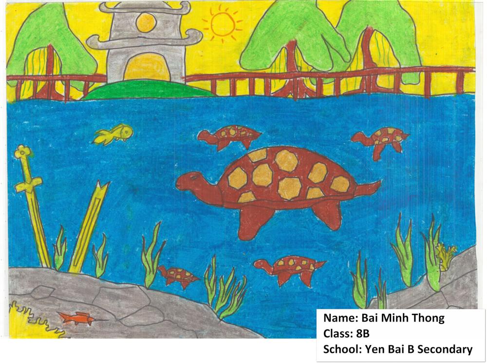 Rùa được xem là một trong bốn loài vật linh thiêng trong suy nghĩ của người Việt Nam. Đây là một bức tranh vẽ của trẻ em mô tả lại sự kiện lịch sử có liên quan đến rùa Hoàn Kiếm - Ảnh: ATP/IMC