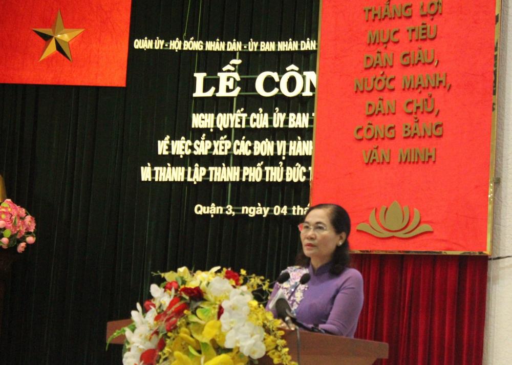 Chủ tịch HĐND TPHCM Nguyễn Thị Lệ chỉ đạo không để ảnh hưởng đời sống người dân trong quá trình sáp nhập phường.