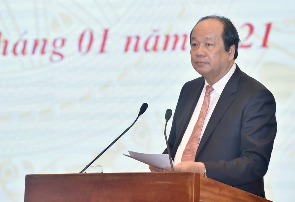 Bộ trưởng Mai Tiến Dũng phát biểu tại cuộc họp.