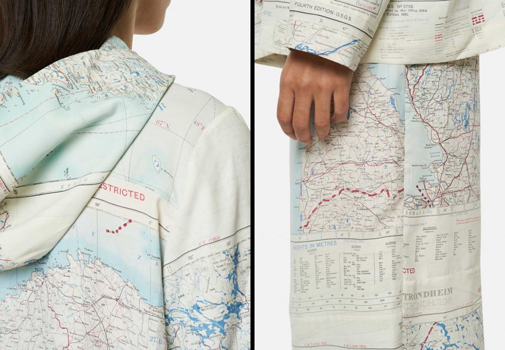 Một số thiết kế trẻ trung, hiện đại trên chất vải bản đồ lụa, tạo mẫu bởi Christopher Raeburn. (Ảnh: LystUK)
