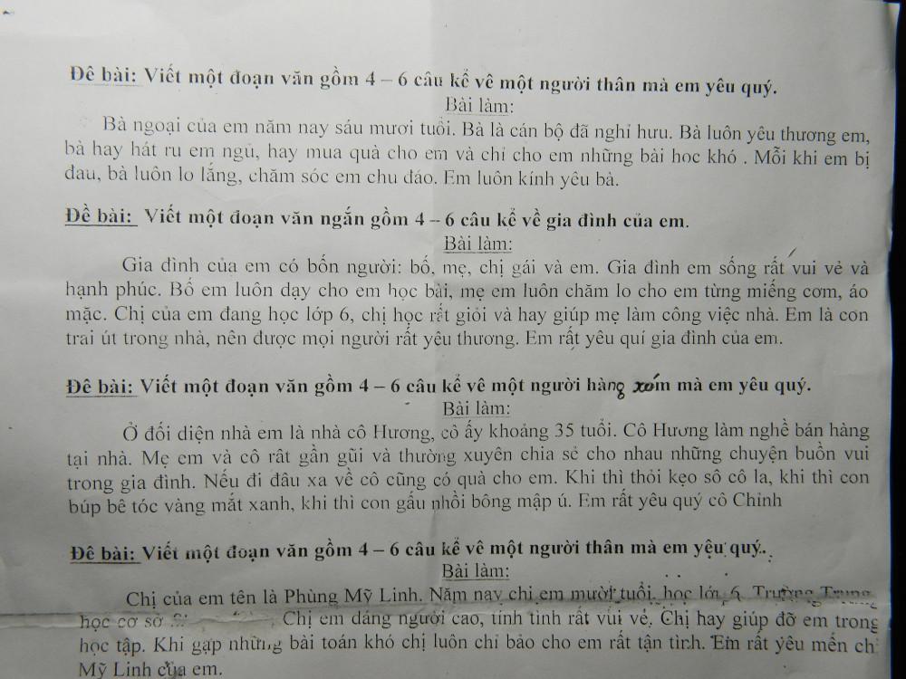 Những bài văn mẫu như thế này vẫn được photo phát cho học sinh trong mỗi kỳ thi, ảnh: minh họa