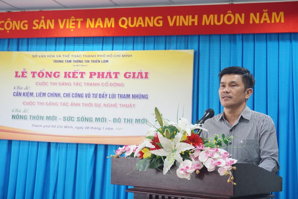 ông Trà Đức Khang, Phó Giám đốc Trung tâm Thông tin Triển lãm TPHCM, Phó trưởng ban tổ chức cuộc thi phát biểu.