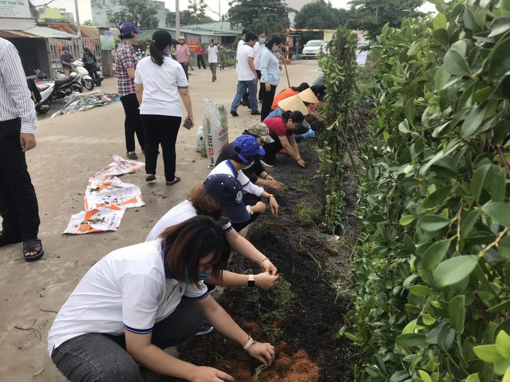 Các cấp Hội LHPN quận Gò Vấp ra quân cải tạo bãi rác tự phát và trồng hoa