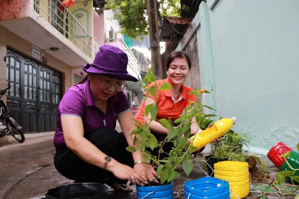 Nhiều cây xanh được trồng từ các vật dụng tái chế