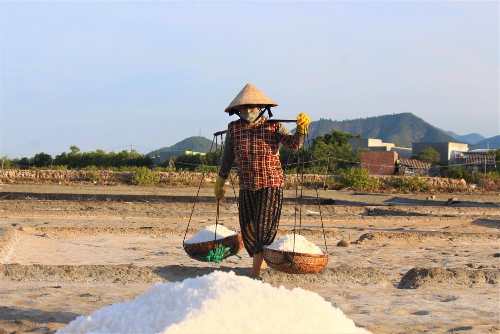 Nữ diêm dân đang thu hoạch muối