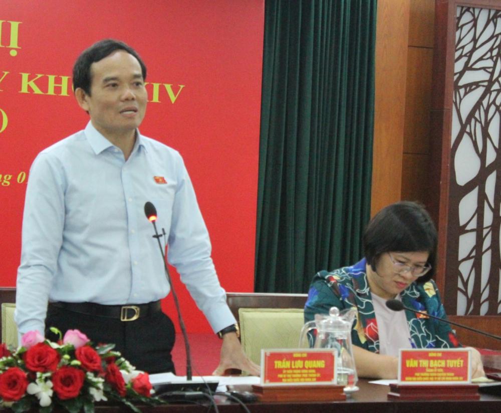 Phó Bí thư Thường trực Thành ủy TPHCM Trần Lưu Quang mong muốn các ĐBQH tiếp tục phát huy năng lực, trước mắt là theo dõi hiệu quả thực hiện 3 Nghị quyết về sự phát triển của TP.